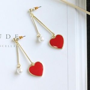 Jewelry - Red Heart and Faux Pearl Dangle Earrings